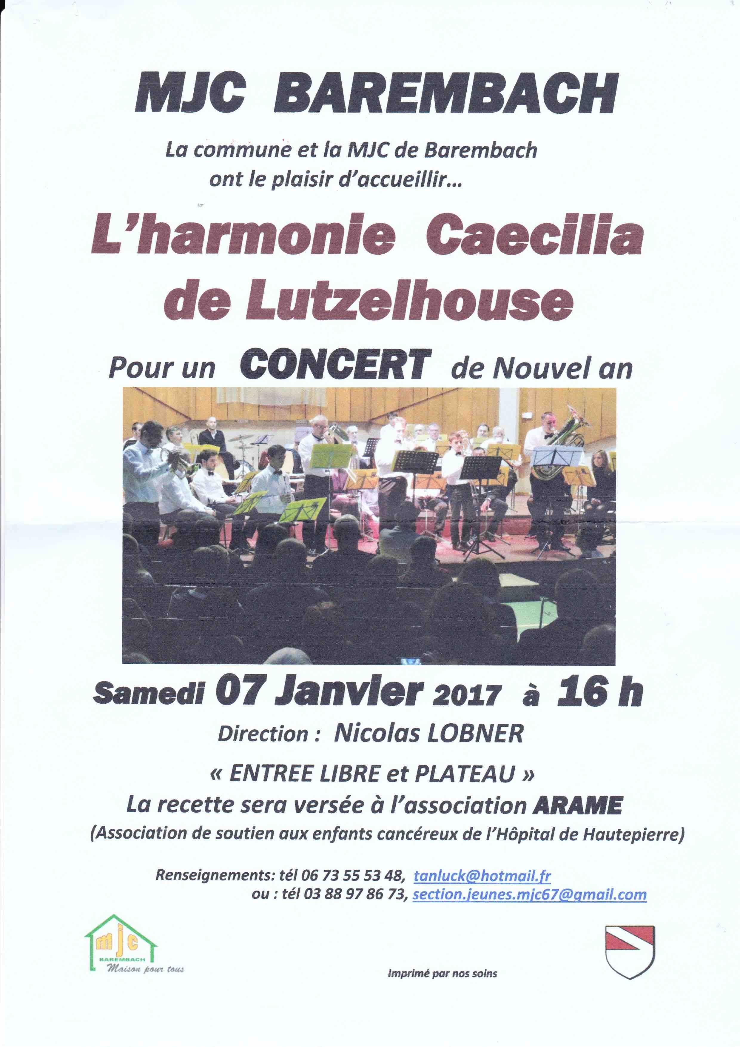 Affiche du concert du nouvel an à Barembach