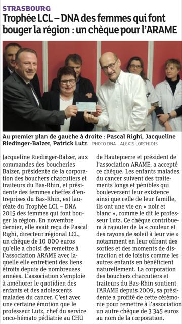 Remise du chèque du Trophée LCL-DNA 2015