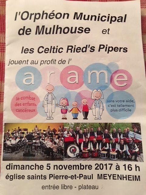 Concert Orphéon Municipal de Mulhouse et les Celtics Ried's Pipers