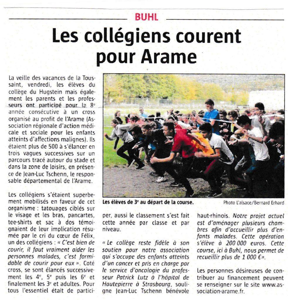 Article de presse Les collégiens courent pour l'Arame