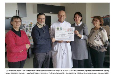 Le Lion's club d'Ebersheim verse un don de 8000€ à l'arame !